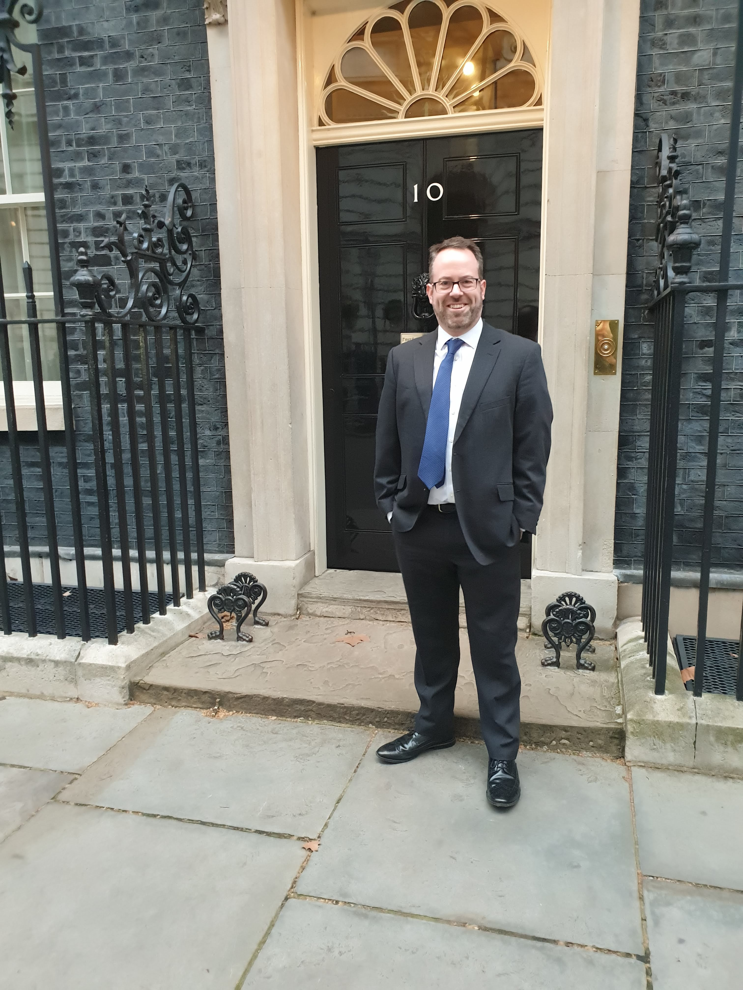 Richard Midson outside Downing Street after a reception with then Prime Minister Theresa May