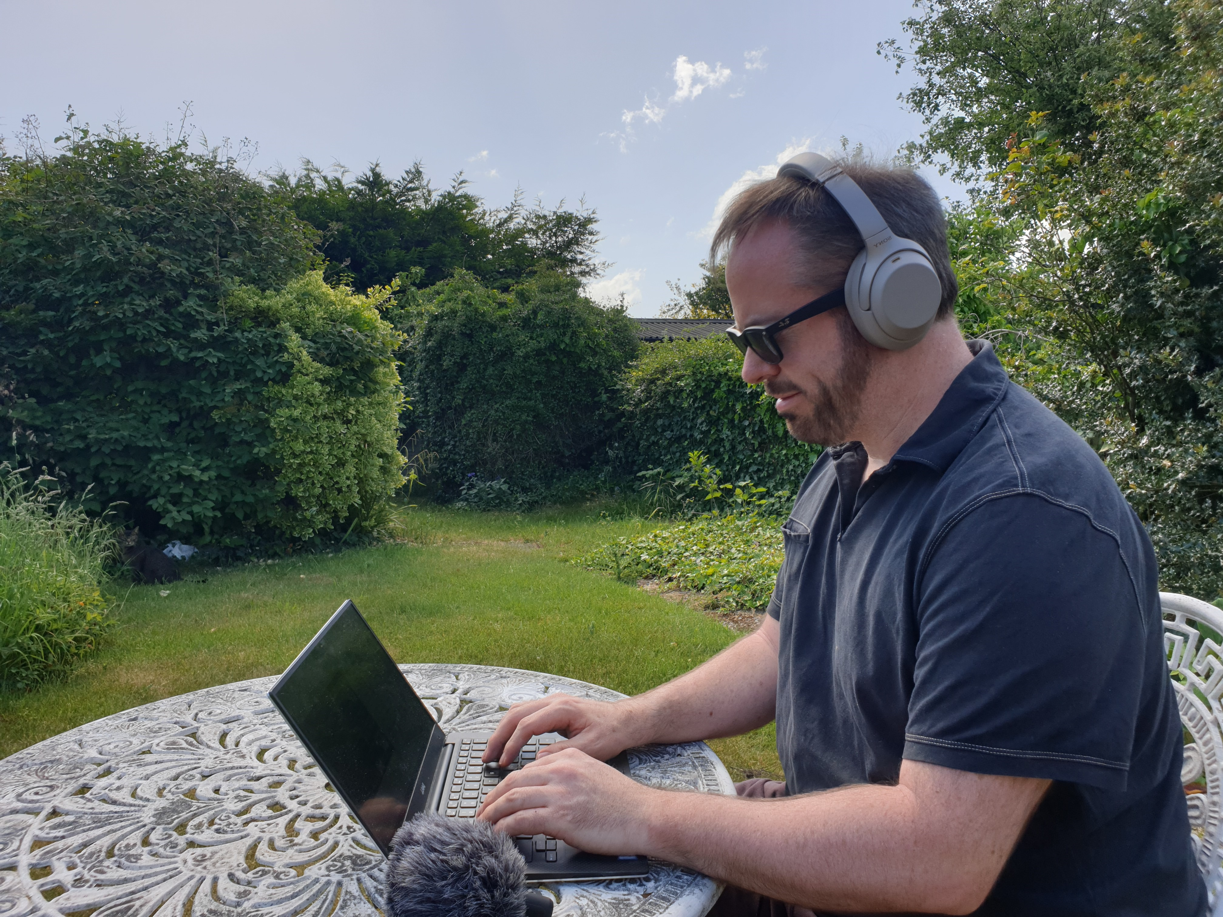 Richard Midson podcasting editing in the garden